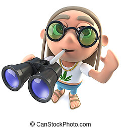 3d Funny cartoon hippy stoner character holding a pair of...