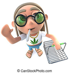 3d Funny cartoon hippy stoner character holding a shopping...
