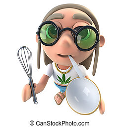 3d Funny cartoon hippy stoner character holding a whisk and...