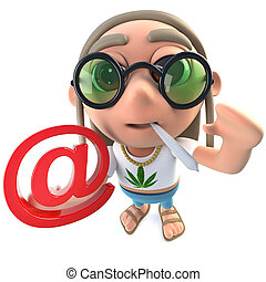 3d Funny cartoon hippy stoner character holding an email...