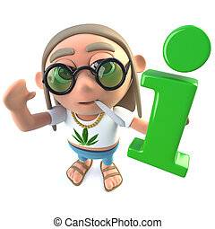 3d Funny cartoon hippy stoner character holding an...