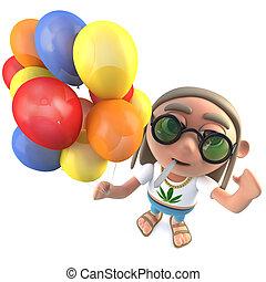 3d Funny cartoon hippy stoner character holding lots of...
