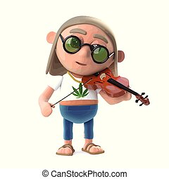 3d Funny cartoon hippy stoner character playing music on a...