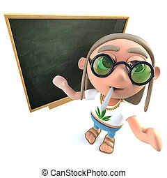 3d Funny cartoon hippy stoner character standing in front of...