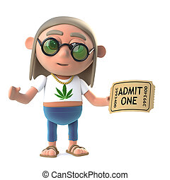 3d Funny cartoon hippy stoner character holding an admission...