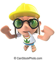 3d Funny cartoon hippy stoner character wearing a...