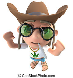 3d Funny cartoon hippy stoner character wearing a ten gallon...