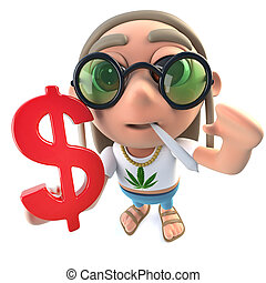 3d Funny cartoon hippy stoner holding a US Dollar currency...