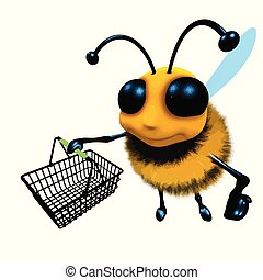 3d Funny cartoon honey bee character carrying a shopping basket