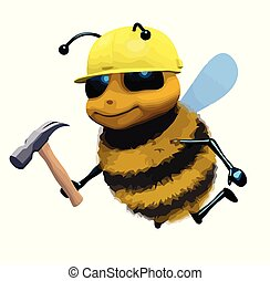 3d Funny cartoon honey bee character dressed as a builder -...