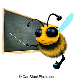 3d Funny cartoon honey bee character is teaching at the blackboard