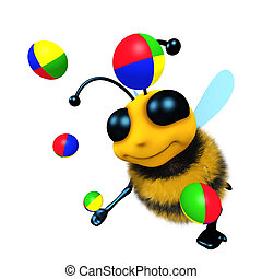 3d Funny cartoon honey bee character juggling some balls