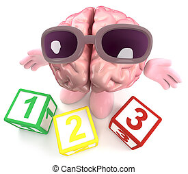3d Funny cartoon human brain character playing with counting blocks