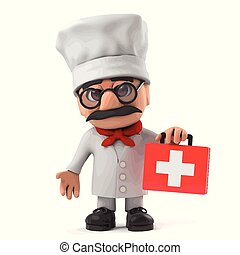 3d Funny cartoon Italian pizza chef character brings first aid kit