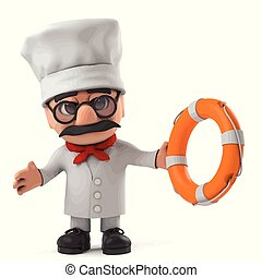 3d Funny cartoon Italian pizza chef character comes to the rescue