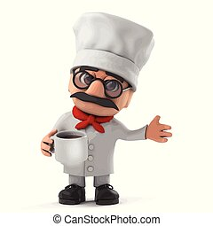 3d Funny cartoon Italian pizza chef character drinking a cup of coffee