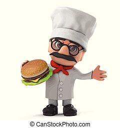 3d Funny cartoon Italian pizza chef character eats a beef burger