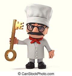 3d Funny cartoon Italian pizza chef character has a gold key