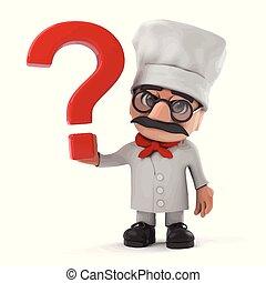 3d Funny cartoon Italian pizza chef character has a question