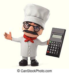 3d Funny cartoon Italian pizza chef character holding a calculator