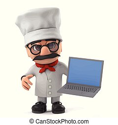 3d Funny cartoon Italian pizza chef character holding his laptop