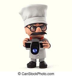 3d Funny cartoon Italian pizza chef character takes a photo with camera