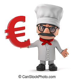 3d Funny cartoon Italian pizza chef holding a Euro currency symbol