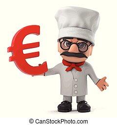 3d Funny cartoon Italian pizza chef holding a Euro symbol