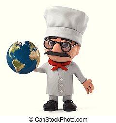3d Funny cartoon Italian pizza chef holding a globe of the Earth