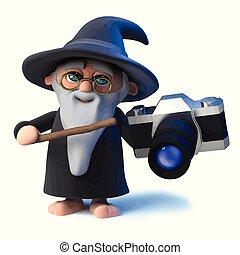 3d Funny cartoon magic wizard character holding a camera