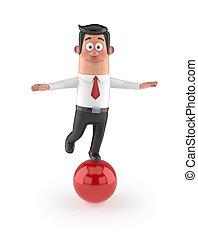 3D funny cartoon manager - balance