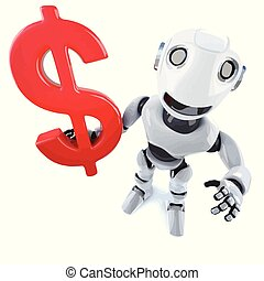 3d Funny cartoon mechanical robot character holding a US Dollar symbol