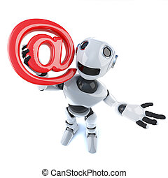 3d Funny cartoon mechanical robot character holding an email...