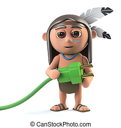 3d Funny cartoon Native American Indian character holding a green power lead