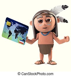 3d Funny cartoon Native American Indian character pays with...