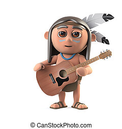 3d Funny cartoon Native American Indian character plays acoustic guitar