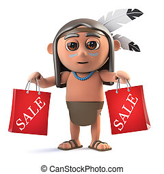 3d Funny cartoon Native American Indian holding two sale bags