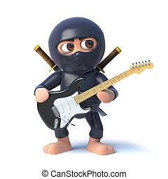 3d Funny cartoon ninja assassin character playing an...