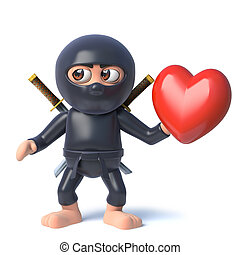 3d Funny cartoon ninja assassin warrior character holding a ...