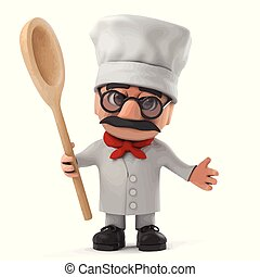 3d Funny cartoon old Italian chef character has a wooden spoon