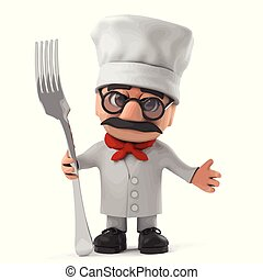 3d Funny cartoon old Italian chef character holding a fork utensil