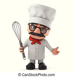 3d Funny cartoon old Italian chef character holding a whisk