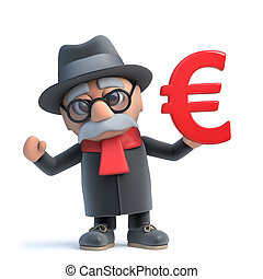 3d Funny cartoon old man character holding a Euro currency symbol
