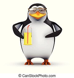 3d Funny cartoon penguin is drinking a nice cold glass of orange juice