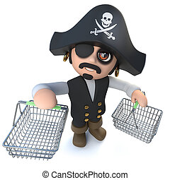 3d Funny cartoon pirate captain carrying shopping baskets -...