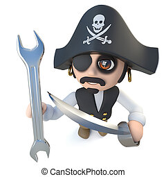 3d Funny cartoon pirate captain character holding a spanner...