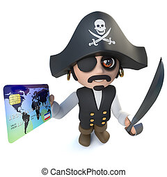 3d Funny cartoon pirate captain character using a debit card...