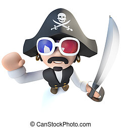3d Funny cartoon pirate captain character wearing 3d glasses...