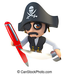 3d Funny cartoon pirate captain character writing with a pen...