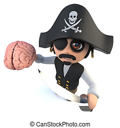 3d Funny cartoon pirate captain holding a human brain - 3d...